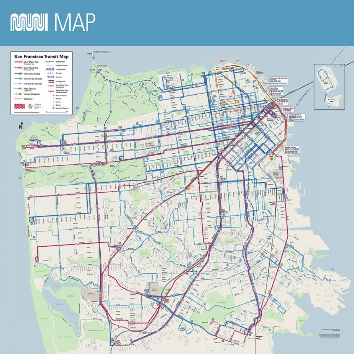 San Francisco-bus-route-Karte - SF muni-bus Karte ...